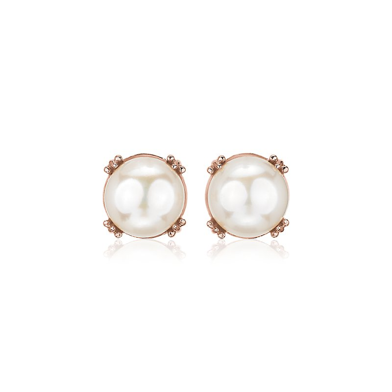 Button Pearl Stud Earrings in 14k Rose Gold