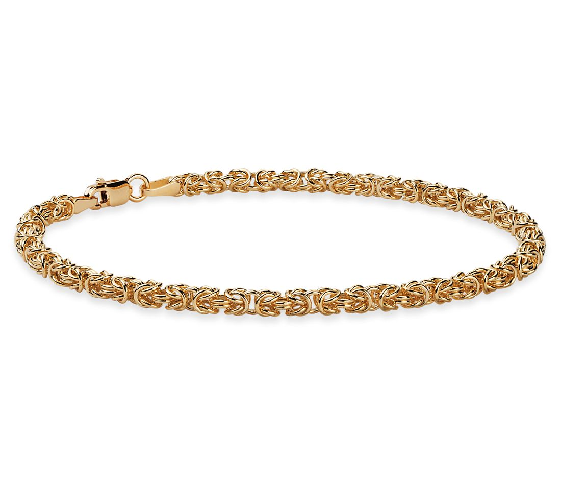 Pee Byzantine Bracelet In 14k Italian Yellow Gold