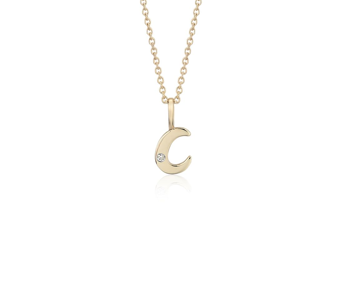 """C"" Mini Initial Pendant with Diamond Detail in 14k Yellow Gold"
