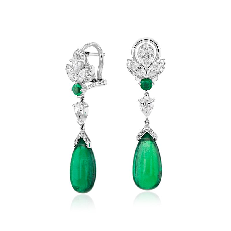 Cabachon Emerald and Diamond Teardrop Earrings in 18k White Gold