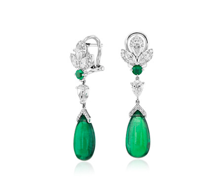 Cabachon Emerald And Diamond Teardrop Earrings In 18k White Gold 14x7mm
