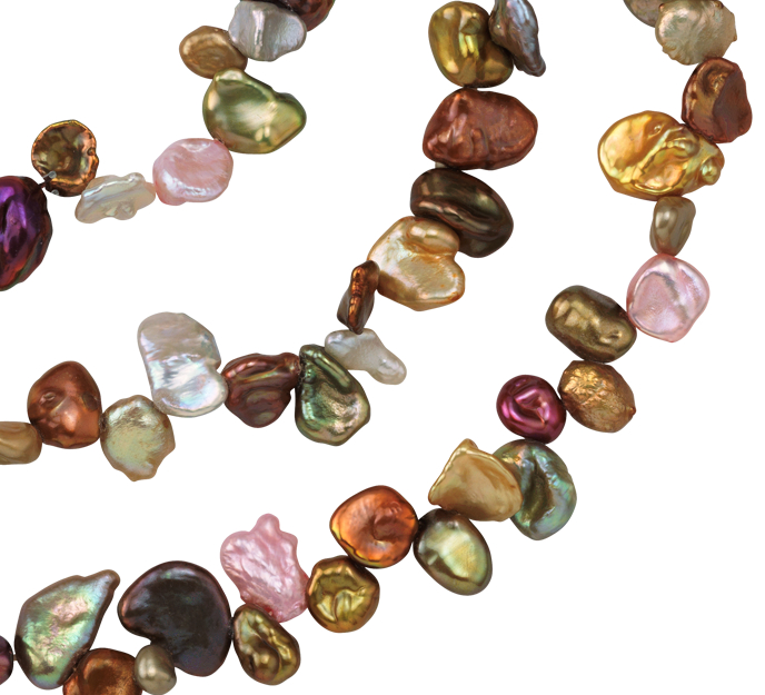 Collar de perlas Keshi Cabernet cultivadas de agua dulce - 72