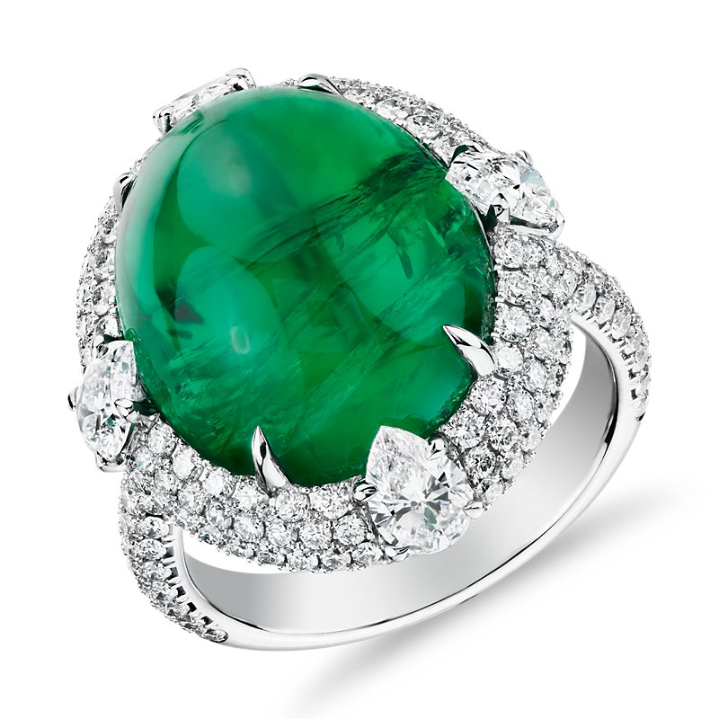 Cabochon Emerald Ring with Triple Diamond Halo and Tiger Prongs i