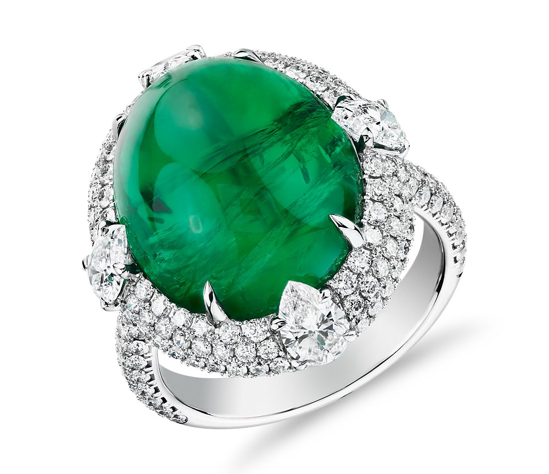 Cabochon Emerald Ring with Triple Diamond Halo and Tiger Prongs in 18k White Gold (15.24 ct. centre)