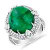 Cabochon Emerald Ring with Triple Diamond Halo and Tiger Prongs in 18k White Gold (15.24 ct. center)
