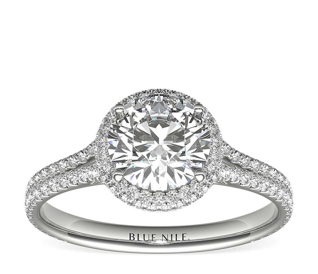 1 Carat Ready-to-Ship Blue Nile Studio Cambridge Halo Diamond Engagement Ring in Platinum