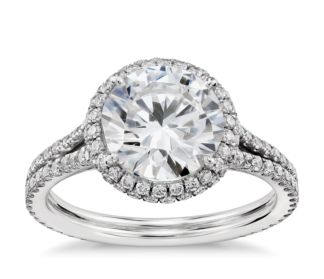 Blue nile studio cambridge halo diamond engagement ring in for Diamond wedding ring images