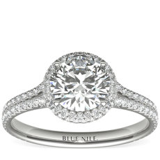 Blue Nile Studio Cambridge Halo Diamond Engagement Ring in Platinum (1/2 ct. tw.)
