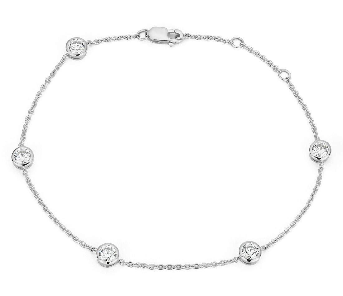 Bracelet serti clos en diamants canadiens en or blanc 18 carats (1 carat, poids total)
