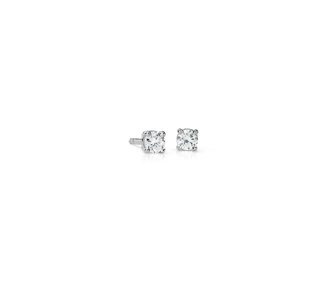 Aretes de diamantes canadienses en oro blanco de 18 k (1/4 qt. total)