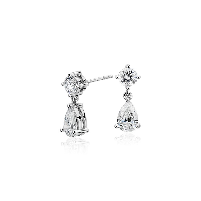 Canadian Diamond Drop Earrings in 18k White Gold (1.50 ct. tw.)