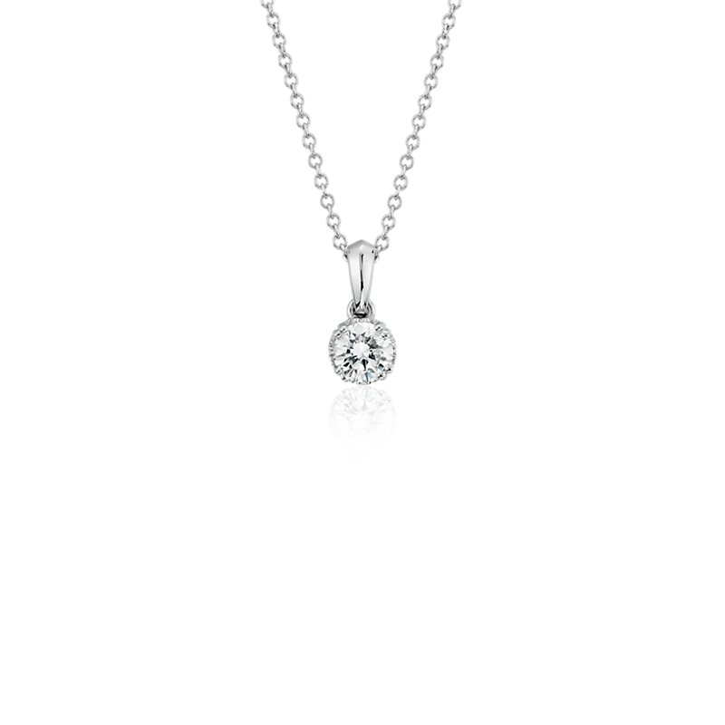 Canadian Diamond Solitaire Pendant in 18k White Gold (1/3 ct. tw.