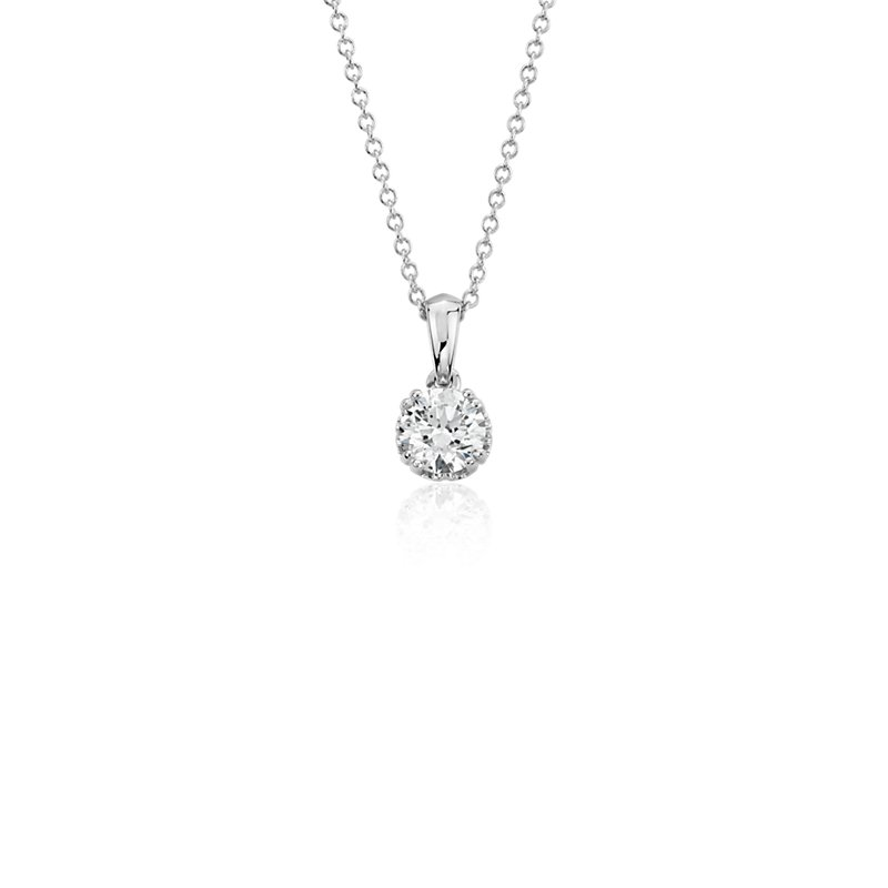 Canadian Diamond Solitaire Pendant in 18k White Gold (1/2 ct. tw.