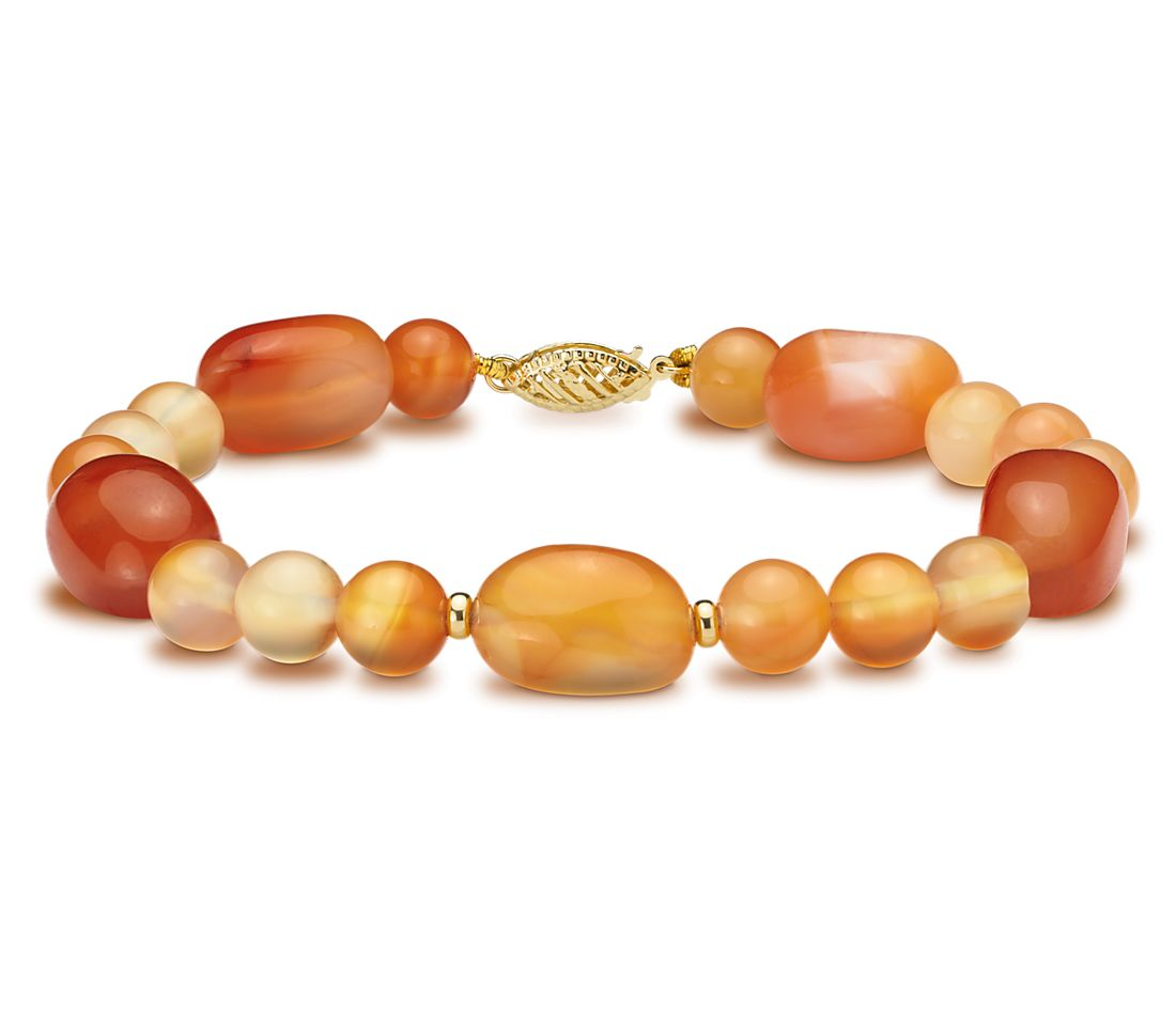 Carnelian Bead Bracelet with 14k Yellow Gold
