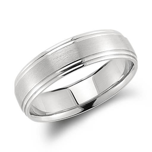 Double Cut Comfort Fit Wedding Ring In Palladium (6mm