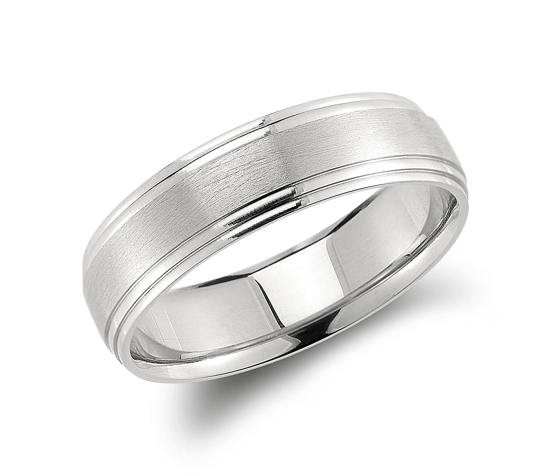 Double Cut Comfort Fit Wedding Ring in Palladium (6mm) | Blue Nile