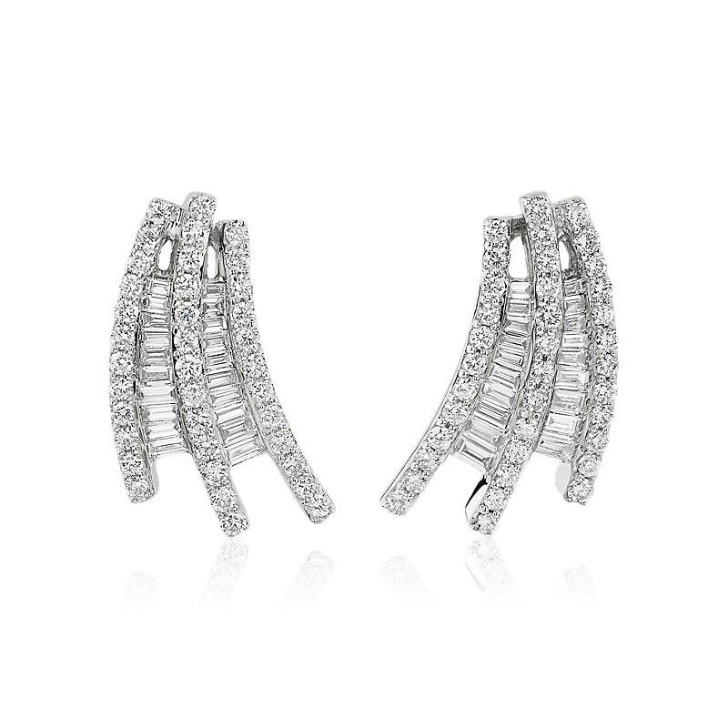 Cascading Baguette Diamond Earrings in 14k White Gold (1 5/8 ct.