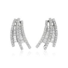 新款 14k 白金長方形鑽石瀑布耳環 (1 5/8 克拉總重量)
