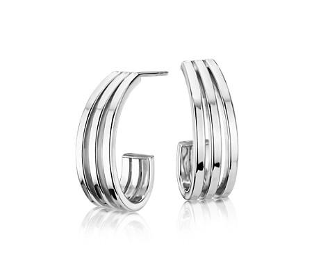 925 純銀 傾瀉圈形耳環