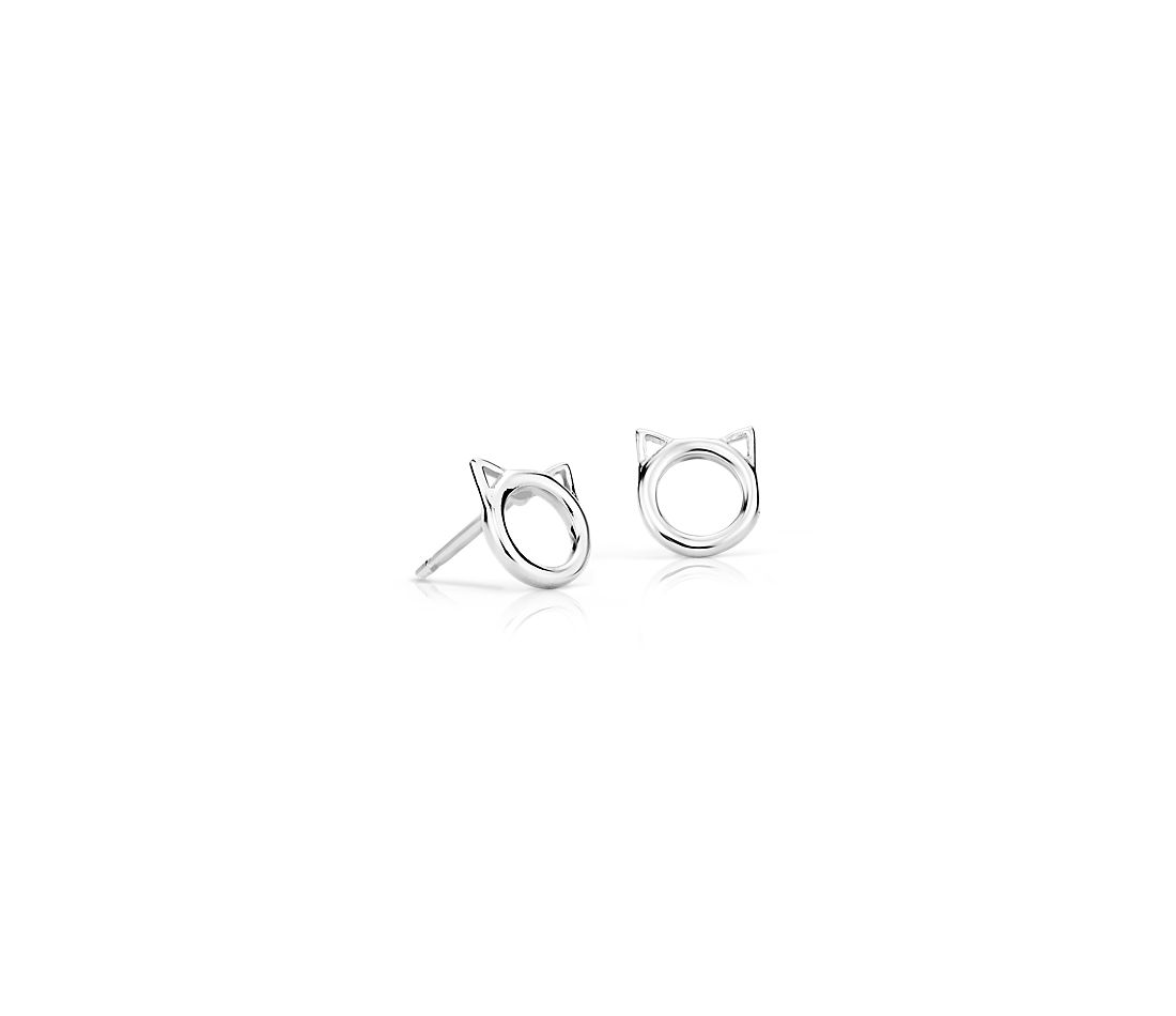 Cat Stud Earring in Sterling Silver