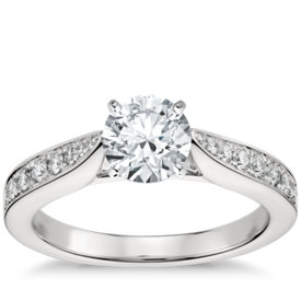 cathedral pav diamond engagement ring in platinum 14 ct tw - Wedding Ring Setting