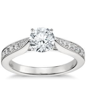 cathedral pav diamond engagement ring in platinum 14 ct tw - Wedding Ring Setting