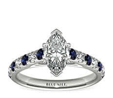 Riviera Pavé Sapphire and Diamond Engagement Ring in Platinum (0.25 ct. tw.)