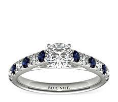 Anillo Riviera con pavé de diamantes y zafiros en platino (0,25 qt. total)