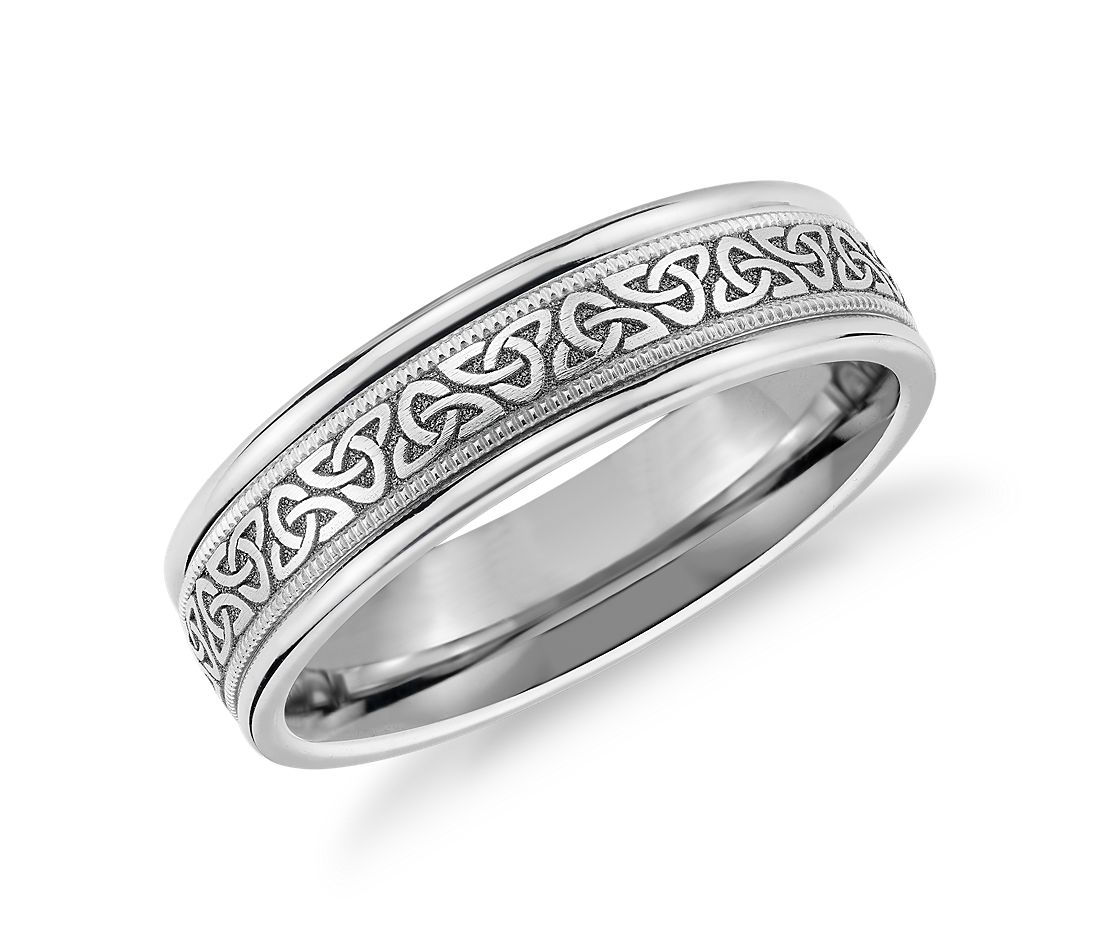 Celtic Trinity Knot Inlay Wedding Band in 14k White Gold (6mm)