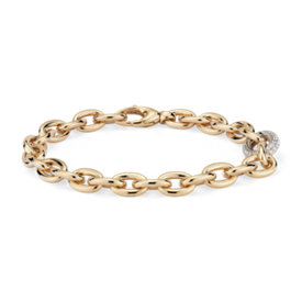 NEW Chain Link Diamond Bracelet in 18k Yellow Gold