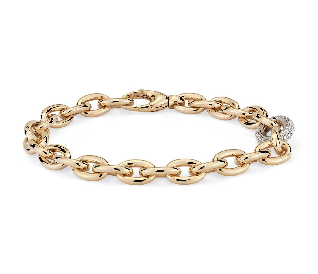 Chain Link Diamond Bracelet In 18k Italian Yellow Gold