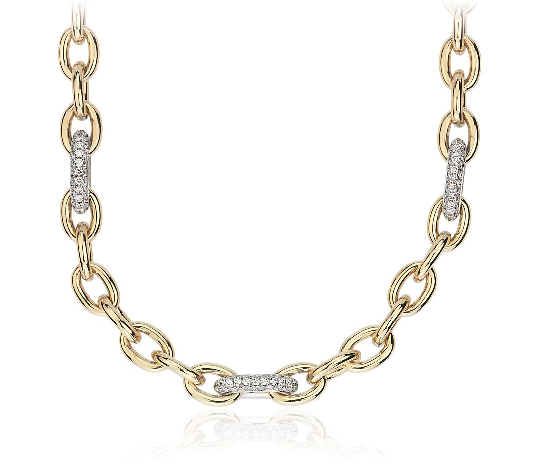 Chain Link Diamond Necklace in 18k Italian Yellow Gold