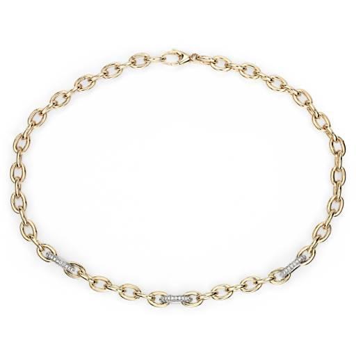 08aa856fe67a Collar con eslabones de cadena y diamantes en oro amarillo italiano de 18k