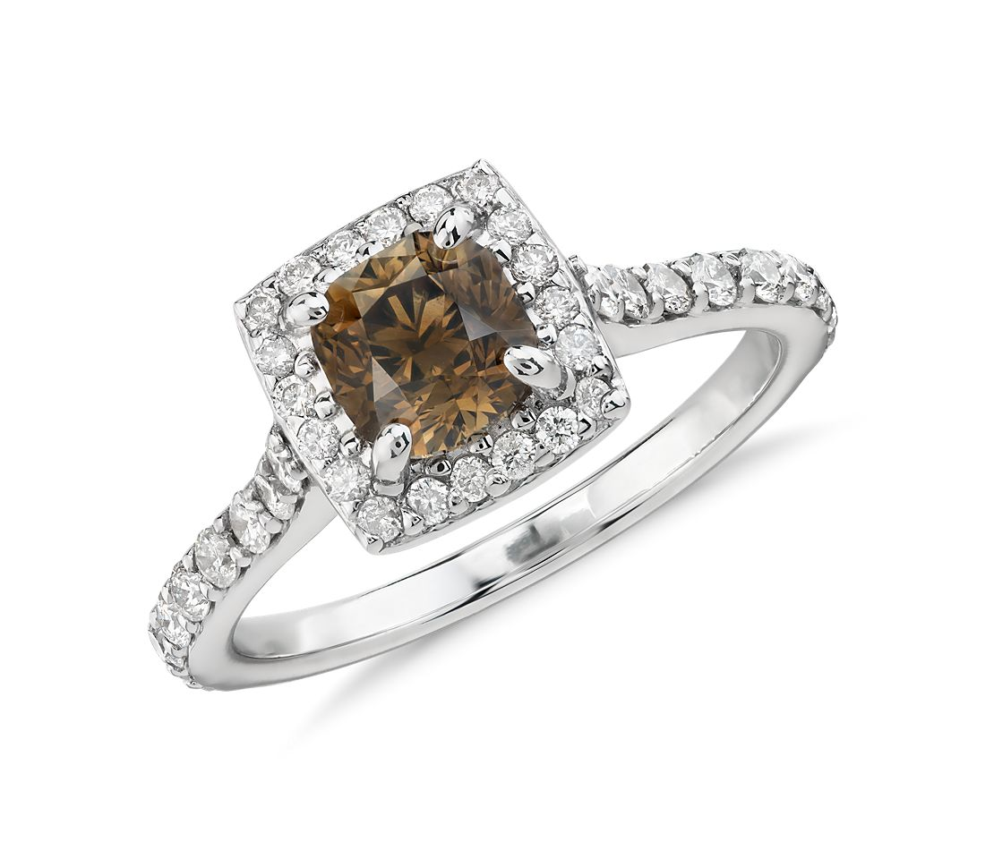 Champagne Brown Halo Diamond Ring In 14k White Gold (131 Ct Tw)