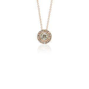 Champagne Diamond Halo Pendant in 14k Rose Gold (1/2 ct. tw.)