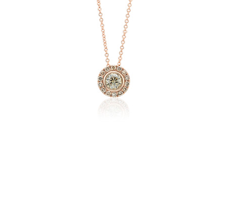 Champagne Diamond Halo Pendant in 14k Rose Gold (1/2 ct. tw.)