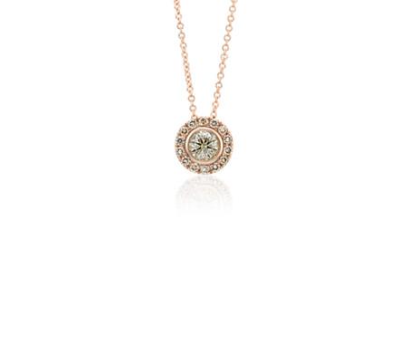 14k 玫瑰金光环香槟钻石吊坠<br>(1/2 克拉总重量)