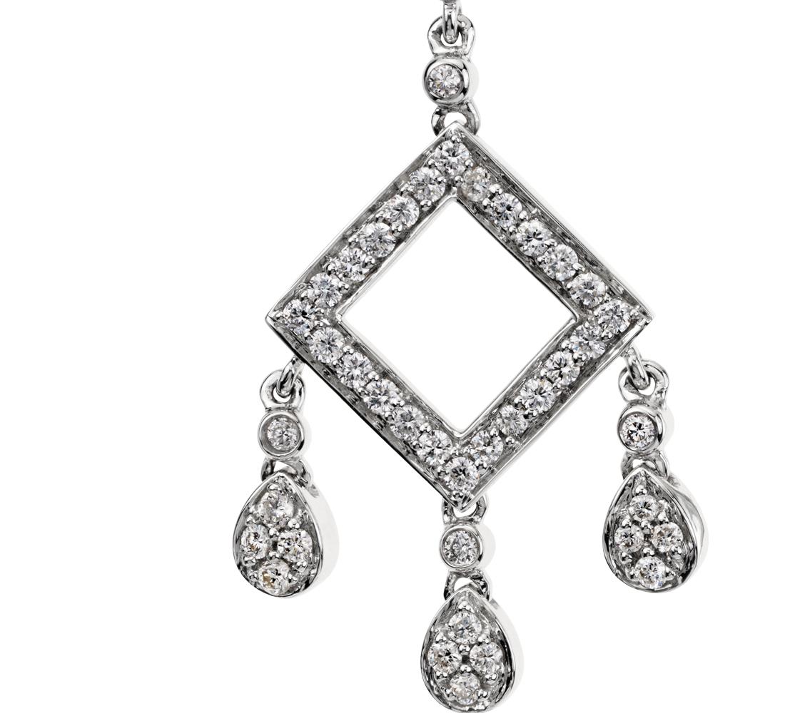 Aretes de diamante con forma de candelabro en oro blanco de 14 k (7/8 qt. total)