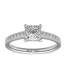 14k 白金迫鑲公主方形鑽石訂婚戒指(1/4 克拉總重量)