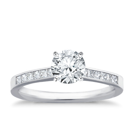 Channel Set Princess Cut Diamond Engagement Ring In 14k White Gold 1 4 Ct