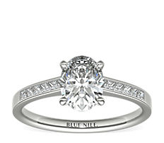 Channel Set Princess Cut Diamond Engagement Ring in 14k White Gold (0.29 ct. tw.)