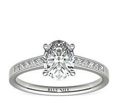Bague de fiançailles diamants taille princesse serti barrette en or blanc 14carats (0,29carat, poids total)