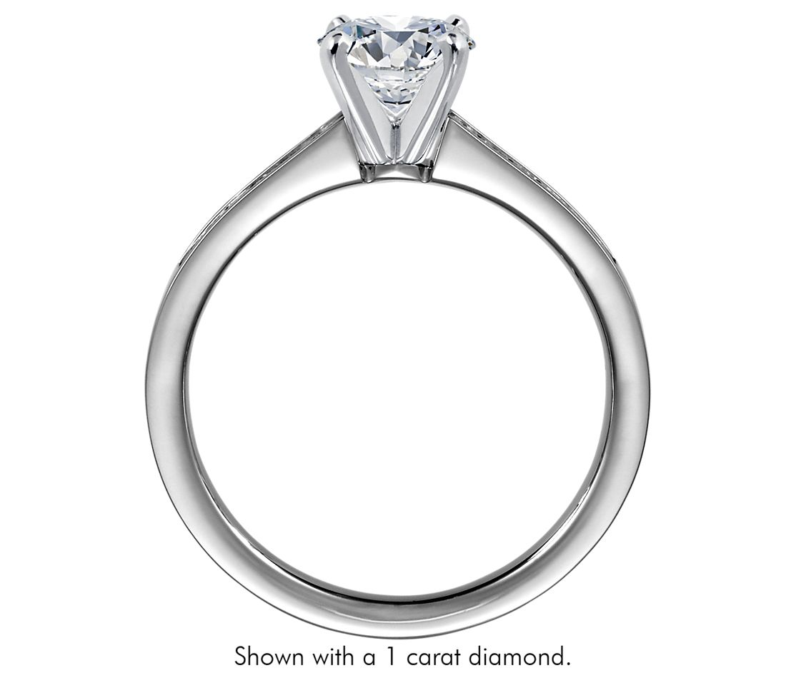 channel set princess cut diamond engagement ring in 14k white gold 14 ct - Wedding Ring Cuts