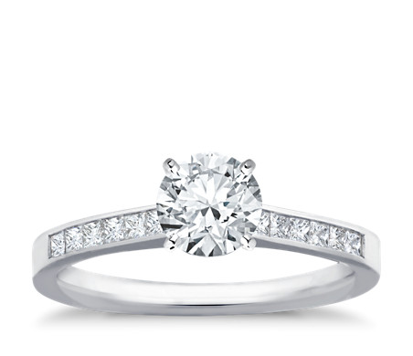rings ring engagement princess antique white pid cut pset preset gold diamond
