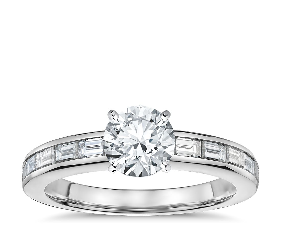 Channel Set Baguette Cut Diamond Engagement Ring In