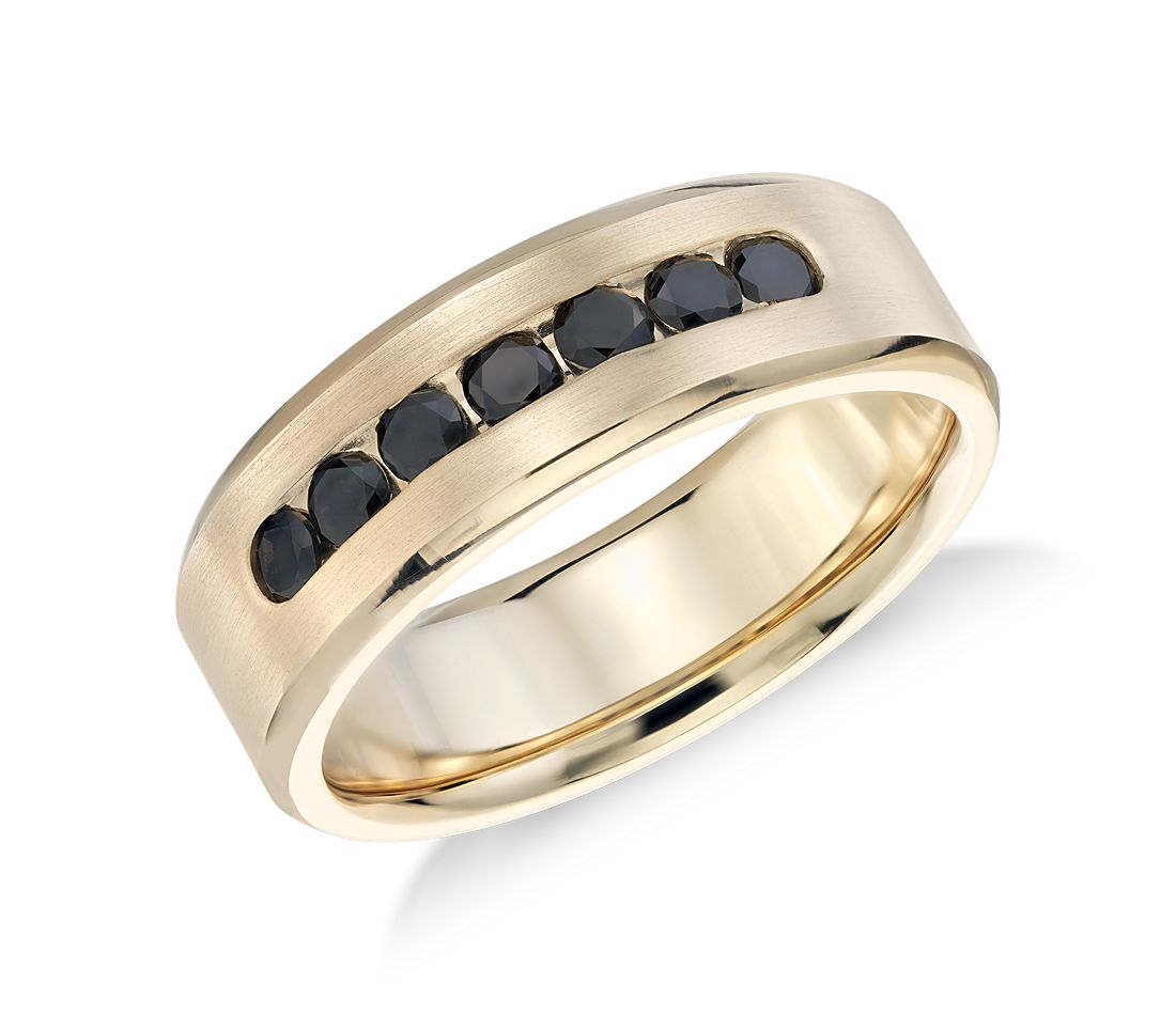 channel set black ring in 14k yellow gold 3 4 ct