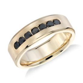 channel set black diamond ring in 14k yellow gold 34 ct - Black Diamond Wedding Rings For Him