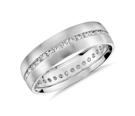 Bague d'éternité en diamant serti barrette en or blanc 14 carats (6 mm)