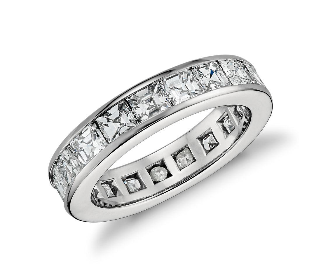 Asscher Cut Channel Set Diamond Eternity Ring In Platinum