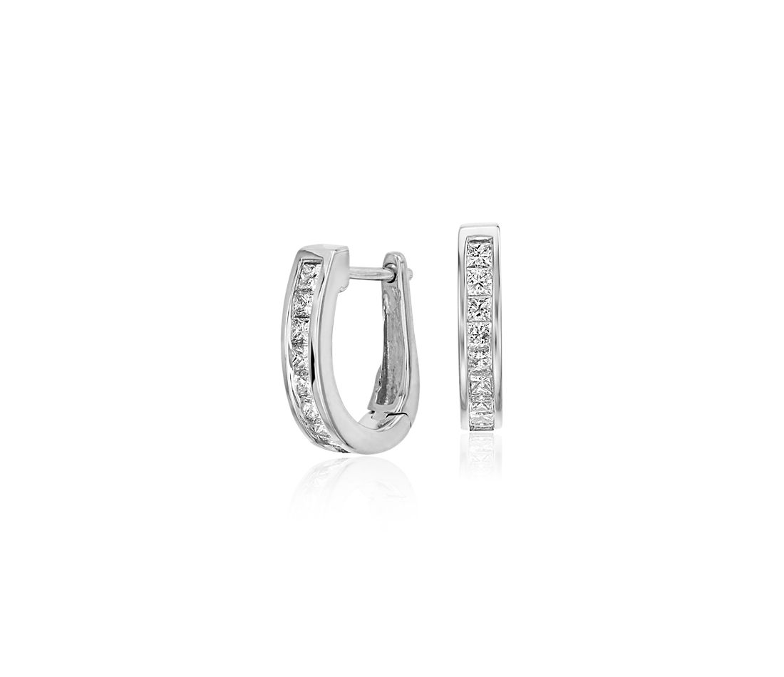 Channel-Set Diamond Hoop Earrings in 18k White Gold (1/2 ct. tw.)